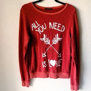 Wildfox Red All You Need Is Love Jumper